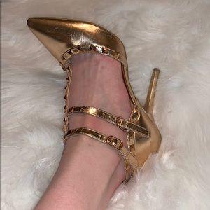 Wild Diva Rose Gold Studded Heels, Sz 8